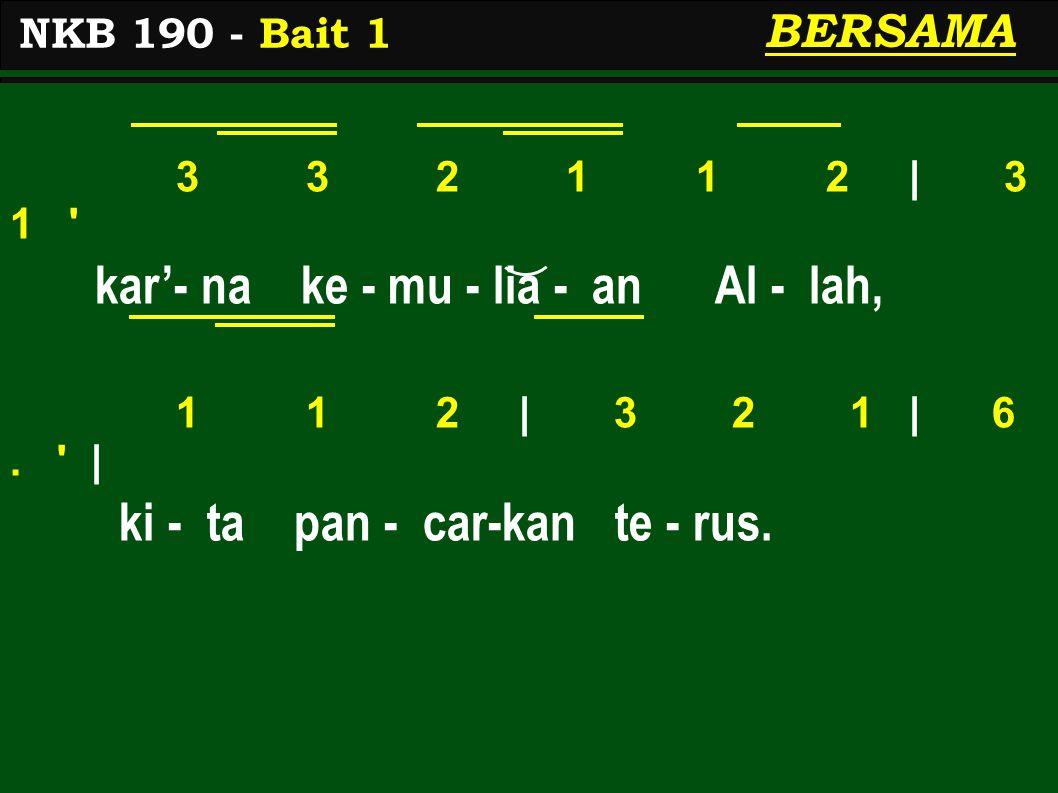 3 3 2 1 1 2 | 3 1 kar'- na ke - mu - lia - an Al - lah, 1 1 2 | 3 2 1 | 6.