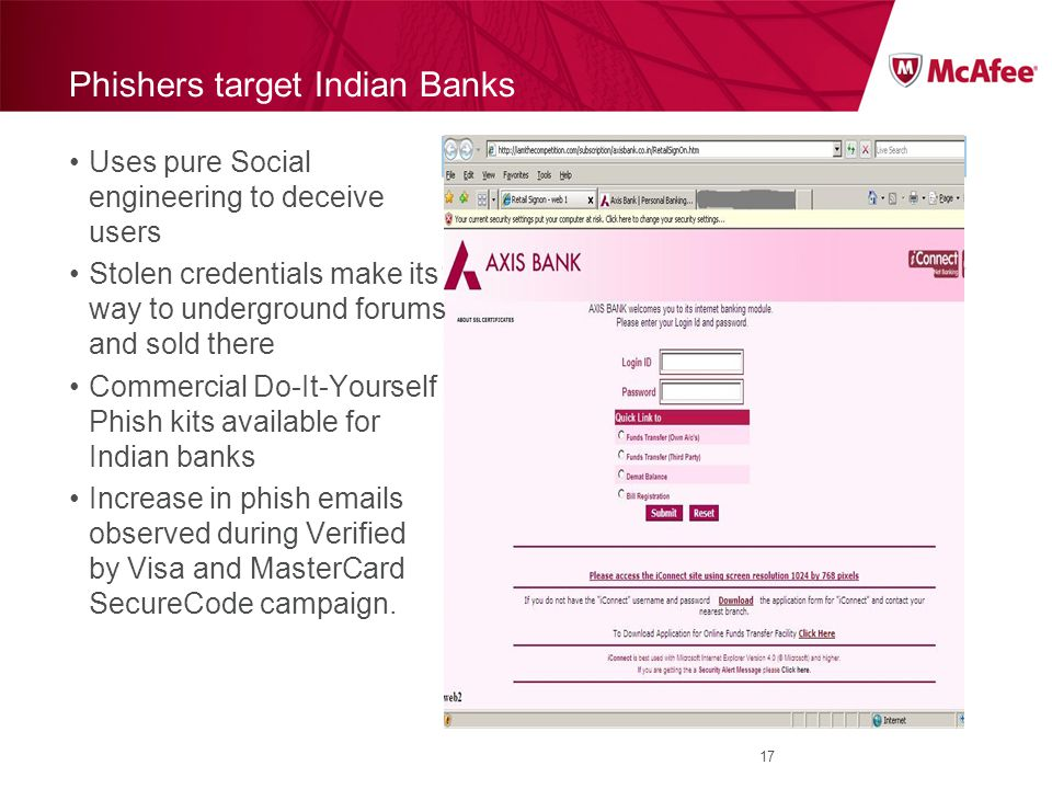 Phishers target Indian Banks Uses pure Social engineering to deceive users Stolen credentials make its way to underground forums and sold there Commercial Do-It-Yourself Phish kits available for Indian banks Increase in phish emails observed during Verified by Visa and MasterCard SecureCode campaign.