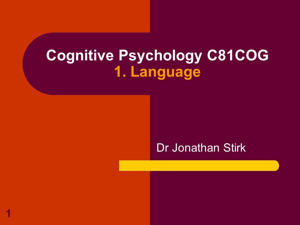 1 Cognitive Psychology C81COG 1. Language Dr Jonathan Stirk