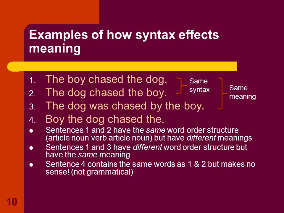 1. The boy chased the dog. 2. The dog chased the boy. 3. The dog was chased by the boy. 4. Boy the dog chased the. Sentences 1 and 2 have the same wor