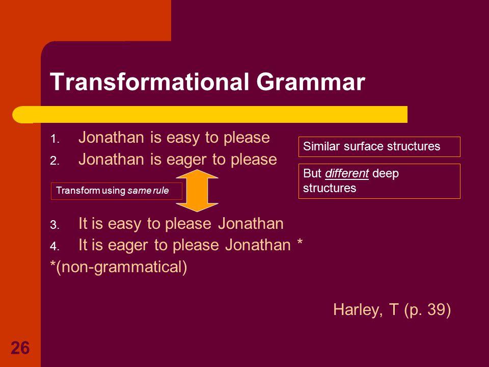 26 Transformational Grammar 1. Jonathan is easy to please 2. Jonathan is eager to please 3. It is easy to please Jonathan 4. It is eager to please Jon
