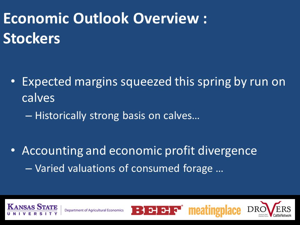 Economic Outlook Overview : Stockers Expected margins squeezed this spring by run on calves – Historically strong basis on calves… Accounting and economic profit divergence – Varied valuations of consumed forage …
