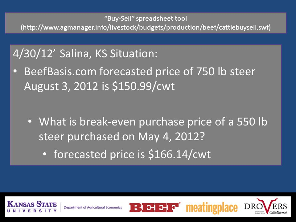 4/30/12' Salina, KS Situation: BeefBasis.com forecasted price of 750 lb steer August 3, 2012 is $150.99/cwt What is break-even purchase price of a 550 lb steer purchased on May 4, 2012.