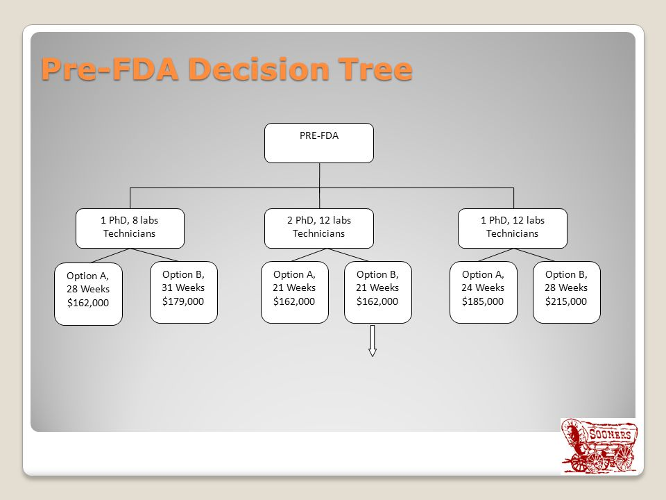 Pre-FDA Decision Tree 1 PhD, 8 labs Technicians PRE-FDA Option A, 28 Weeks $162,000 2 PhD, 12 labs Technicians 1 PhD, 12 labs Technicians Option B, 31 Weeks $179,000 Option B, 28 Weeks $215,000 Option A, 21 Weeks $162,000 Option A, 24 Weeks $185,000 Option B, 21 Weeks $162,000