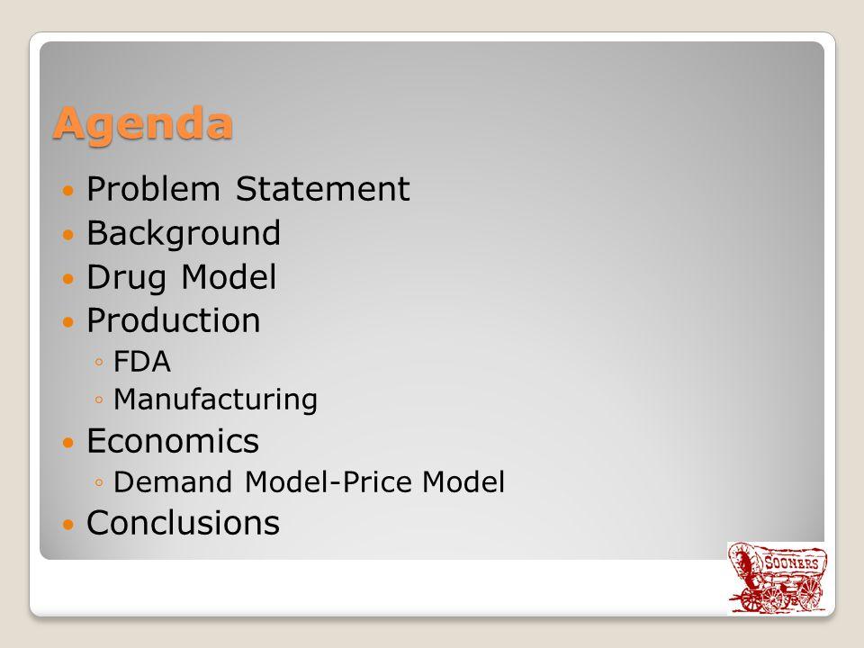 Agenda Problem Statement Background Drug Model Production ◦FDA ◦Manufacturing Economics ◦Demand Model-Price Model Conclusions