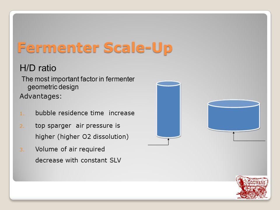 Fermenter Scale-Up H/D ratio The most important factor in fermenter geometric design Advantages: 1.