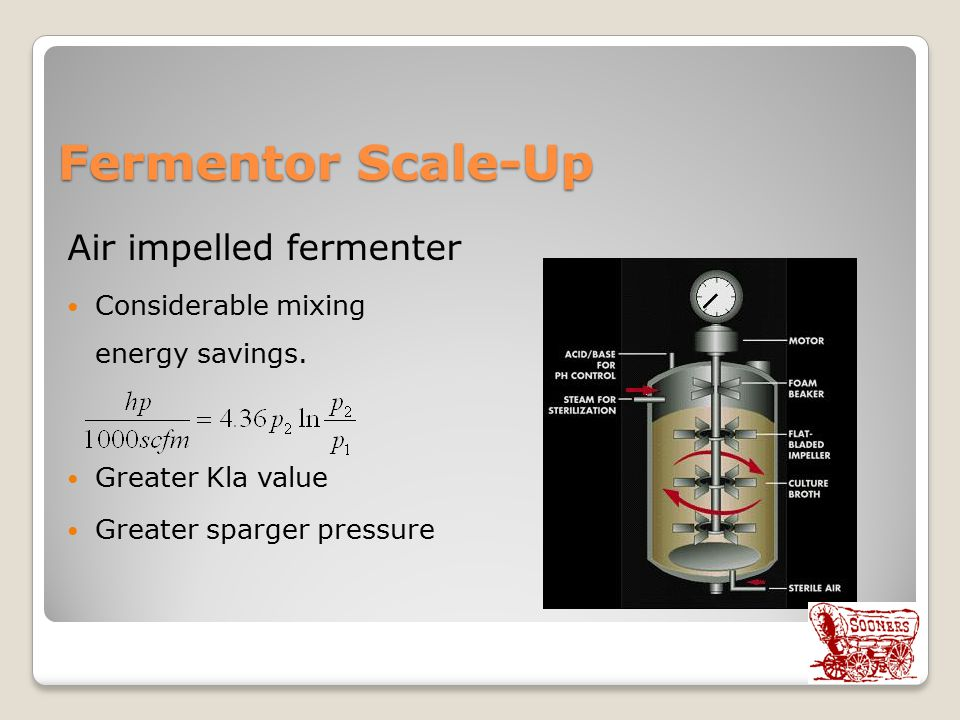 Fermentor Scale-Up Air impelled fermenter Considerable mixing energy savings.