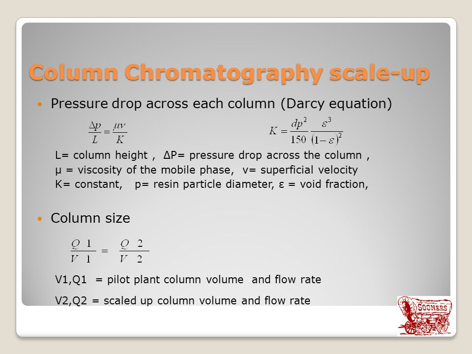 Column Chromatography scale-up Pressure drop across each column (Darcy equation) L= column height, ∆P= pressure drop across the column, µ = viscosity