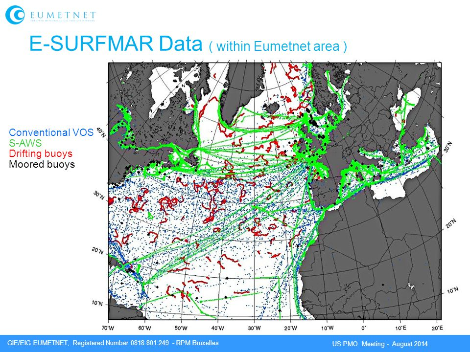GIE/EIG EUMETNET, Registered Number 0818.801.249 - RPM Bruxelles US PMO Meeting - August 2014 Conventional VOS S-AWS Drifting buoys Moored buoys E-SURFMAR Data ( within Eumetnet area )