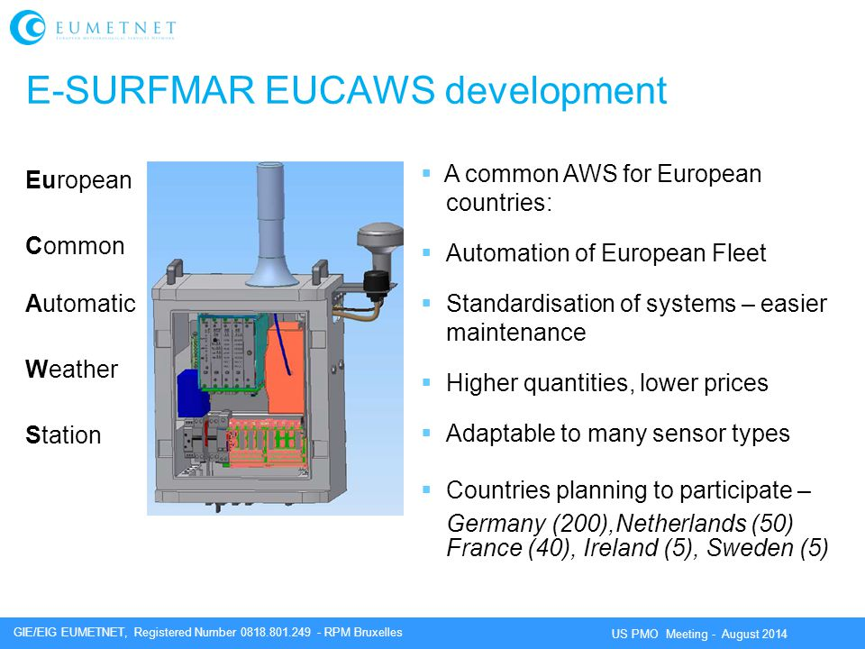 GIE/EIG EUMETNET, Registered Number 0818.801.249 - RPM Bruxelles US PMO Meeting - August 2014 E-SURFMAR EUCAWS development European Common Automatic Weather Station  A common AWS for European countries:  Automation of European Fleet  Standardisation of systems – easier maintenance  Higher quantities, lower prices  Adaptable to many sensor types  Countries planning to participate – Germany (200),Netherlands (50) France (40), Ireland (5), Sweden (5)