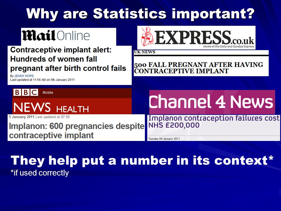 Why are Statistics important? They help put a number in its context* *if used correctly