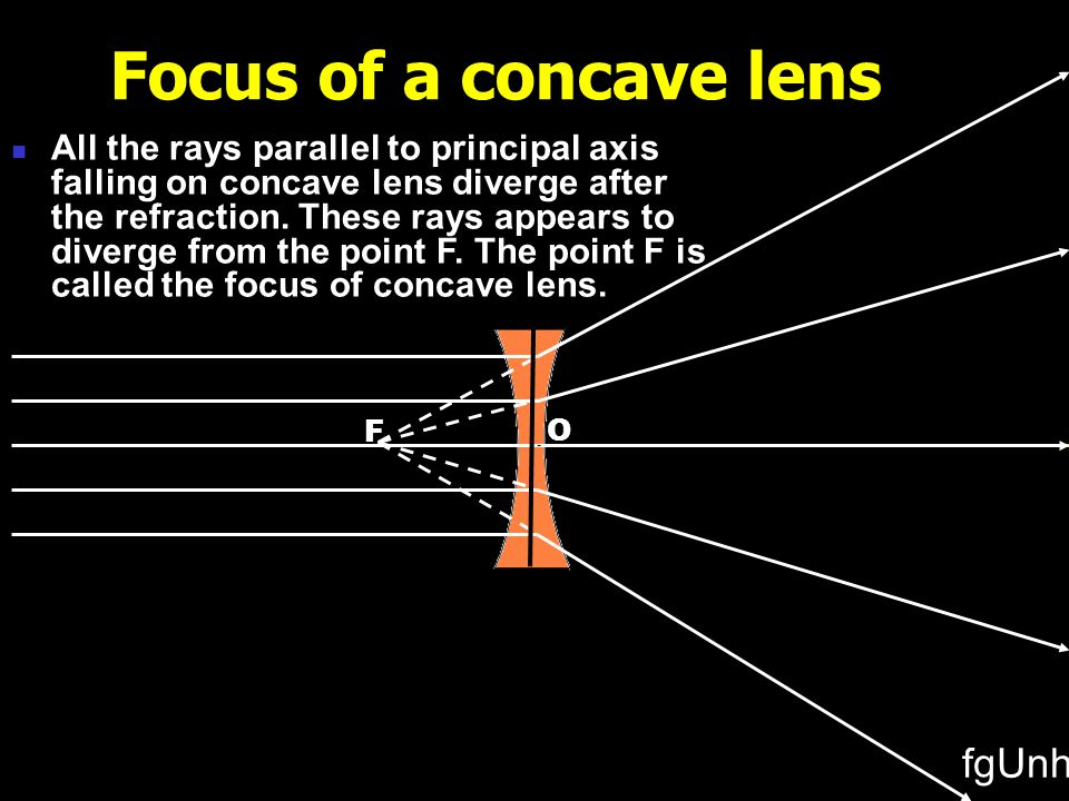 O F F Focus of a convex lens All the rays parallel to principal axis falling on convex lens, pass through a point F after refraction.