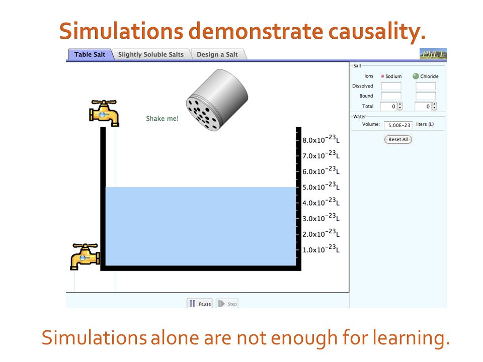 Simulations demonstrate causality. Simulations alone are not enough for learning.