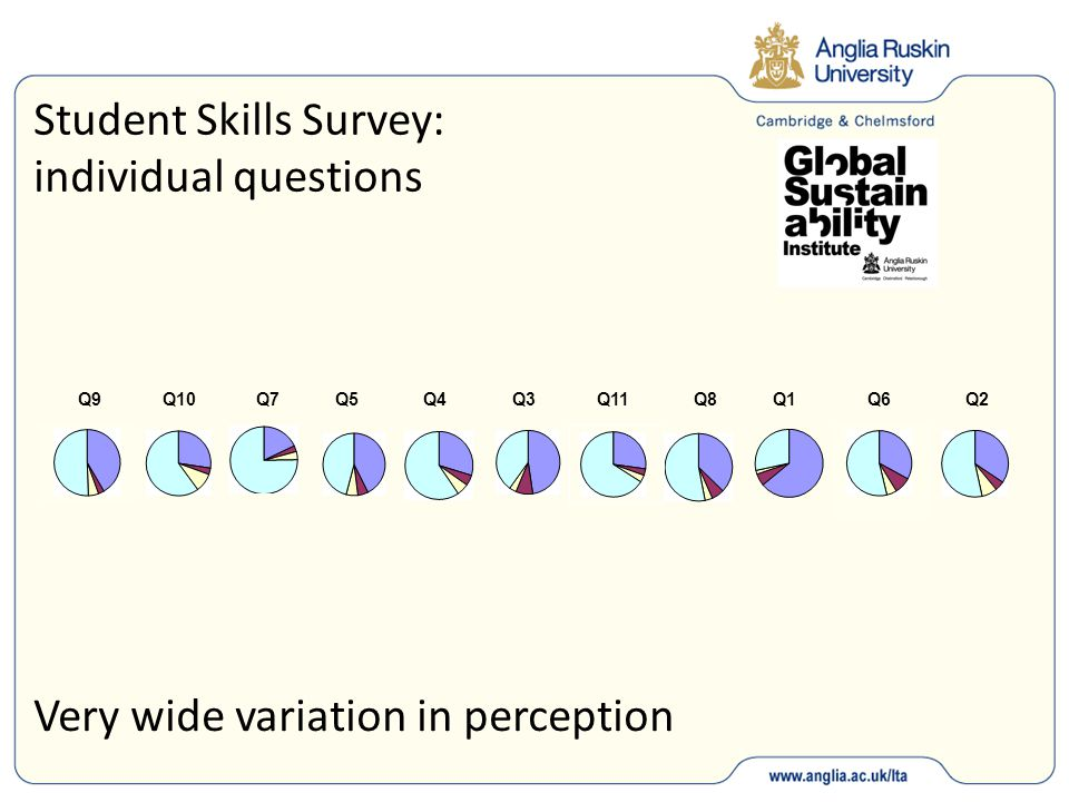 Student Skills Survey: individual questions Q9 Q10 Q7 Q5 Q4 Q3 Q11 Q8 Q1 Q6 Q2 Very wide variation in perception