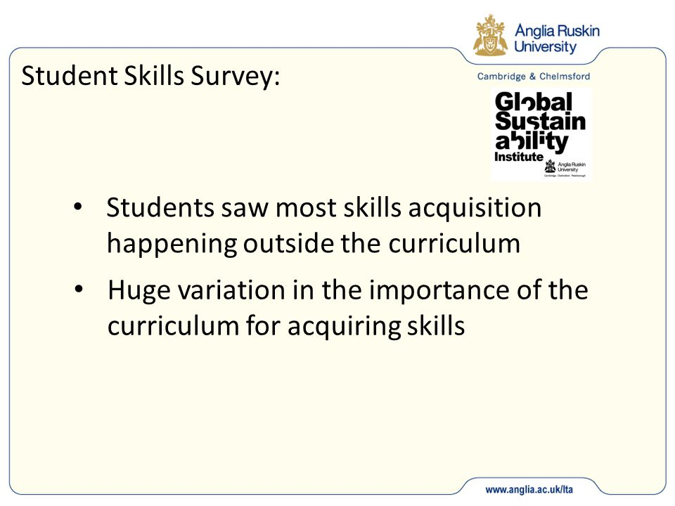 Student Skills Survey: Students saw most skills acquisition happening outside the curriculum Huge variation in the importance of the curriculum for ac