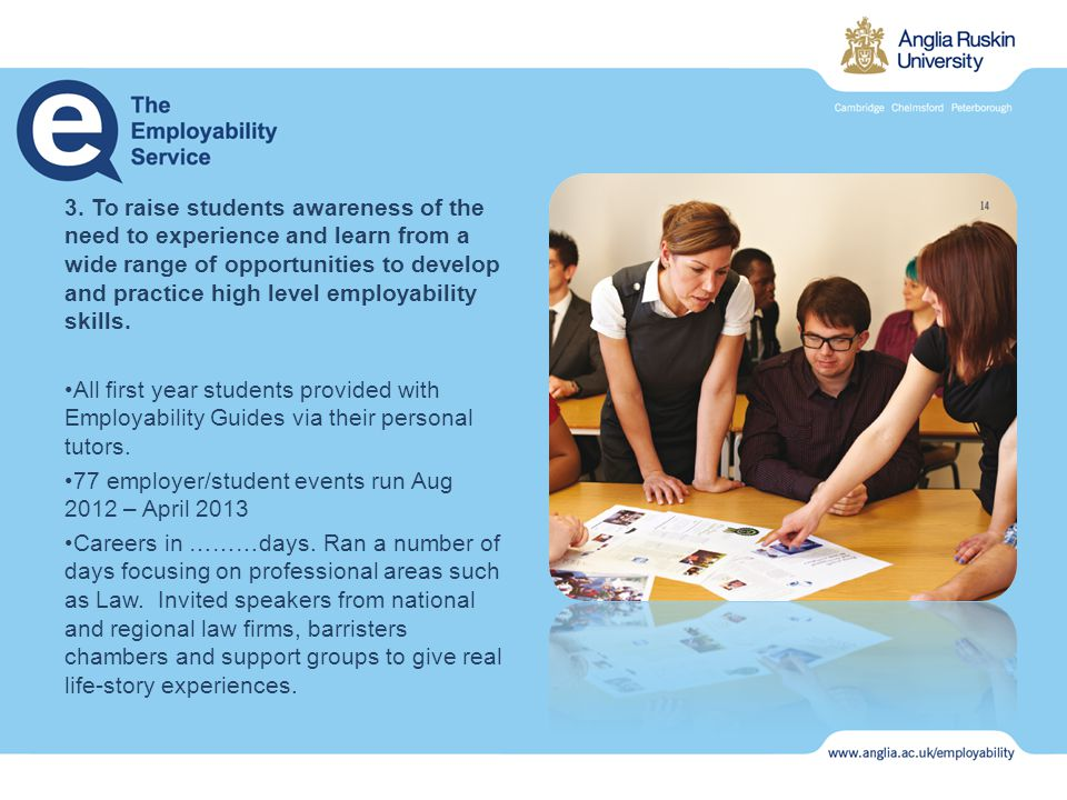 3. To raise students awareness of the need to experience and learn from a wide range of opportunities to develop and practice high level employability