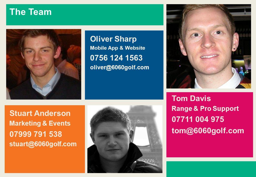 The Team Oliver Sharp Mobile App & Website 0756 124 1563 oliver@6060golf.com Tom Davis Range & Pro Support 07711 004 975 tom@6060golf.com Stuart Anderson Marketing & Events 07999 791 538 stuart@6060golf.com
