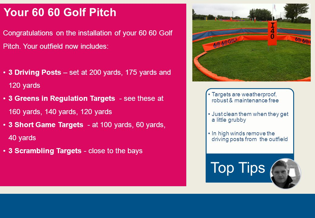 Your 60 60 Golf Pitch Congratulations on the installation of your 60 60 Golf Pitch.