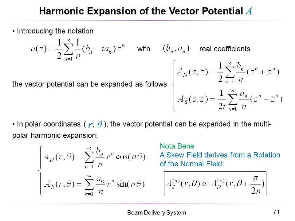 71 Beam Delivery System Harmonic Expansion of the Vector Potential A Introducing the notation with real coefficients the vector potential can be expan