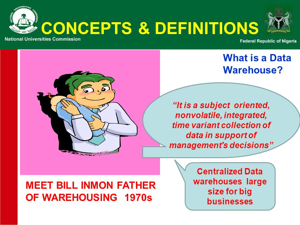 CONCEPTS & DEFINITIONS MEET RALPH KIMBALLMEET RALPH KIMBALL 2 ND FATHER OF WAREHOUSING 1998 What is a Data Warehouse.