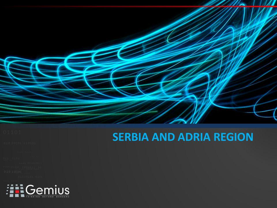 03 // /ADRIA REGION:GEMIUS GEMIUS AUDIENCE MEASUREMENT IN ADRIA REGION Source: Gemius/Valicon, gemiusAudience in BiH and Croatia, MOSS-SOZ - Valicon/Gemius in Slovenia, ABC gemiusAudience in Serbia.