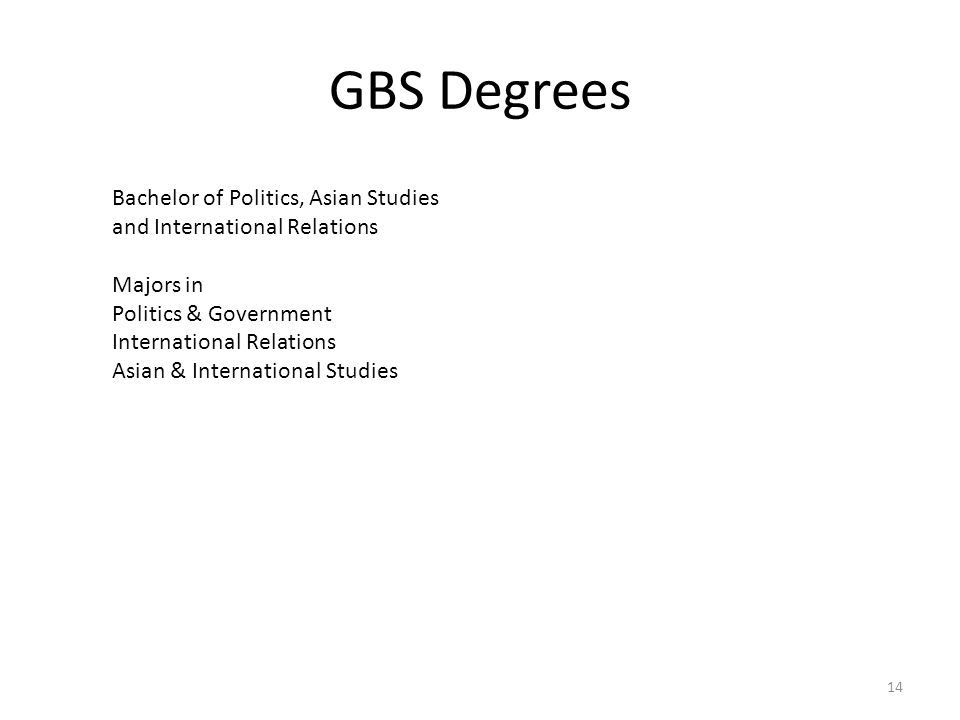 GBS Degrees Bachelor of Politics, Asian Studies and International Relations Majors in Politics & Government International Relations Asian & Internatio