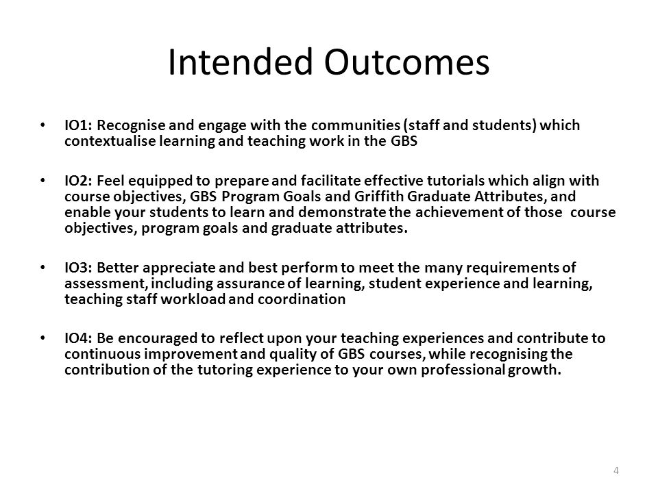 Intended Outcomes IO1: Recognise and engage with the communities (staff and students) which contextualise learning and teaching work in the GBS IO2: F