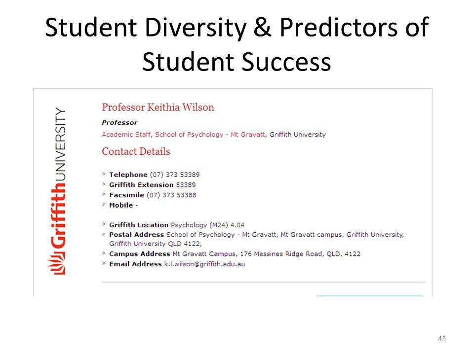 Student Diversity & Predictors of Student Success 43