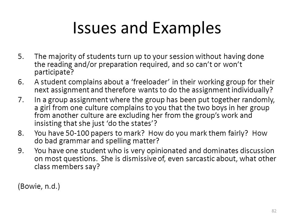 Issues and Examples 5.The majority of students turn up to your session without having done the reading and/or preparation required, and so can't or wo