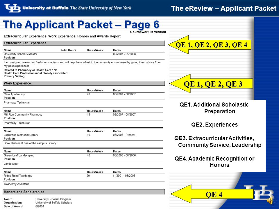 Q1: Additional Scholastic Preparation QE 1 The Applicant Packet – Pages 4 & 5 The eReview – Applicant Packet Wide variety of backgrounds.
