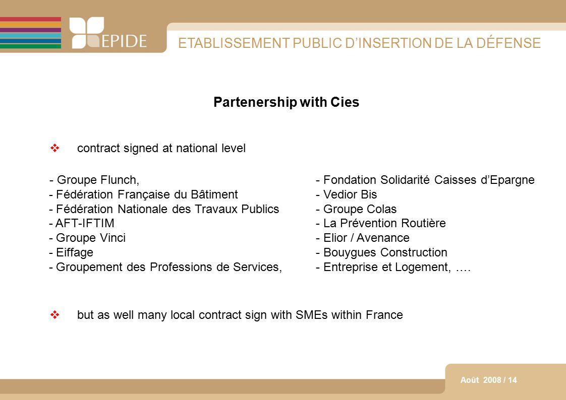13 Août 2008 / 14 ETABLISSEMENT PUBLIC D'INSERTION DE LA DÉFENSE Partenership with Cies  contract signed at national level - Groupe Flunch,- Fondatio