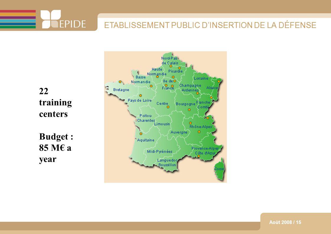 14 Août 2008 / 15 ETABLISSEMENT PUBLIC D'INSERTION DE LA DÉFENSE Les centres ouverts 22 training centers Budget : 85 M€ a year