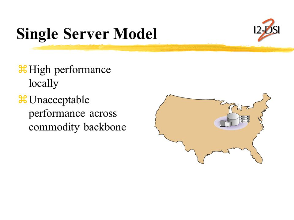 Single Server Model zHigh performance locally zUnacceptable performance across commodity backbone