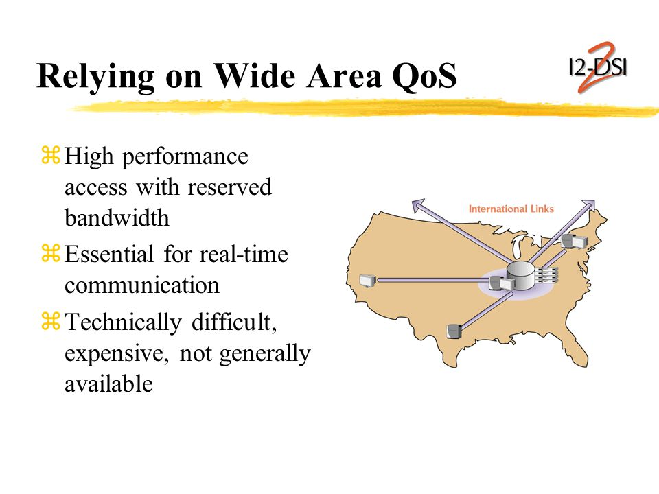 Relying on Wide Area QoS zHigh performance access with reserved bandwidth zEssential for real-time communication zTechnically difficult, expensive, not generally available