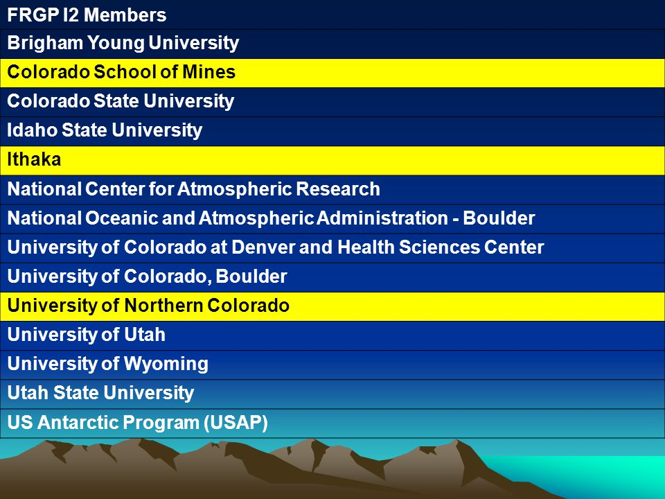 FRGP I2 Members Brigham Young University Colorado School of Mines Colorado State University Idaho State University Ithaka National Center for Atmospheric Research National Oceanic and Atmospheric Administration - Boulder University of Colorado at Denver and Health Sciences Center University of Colorado, Boulder University of Northern Colorado University of Utah University of Wyoming Utah State University US Antarctic Program (USAP)