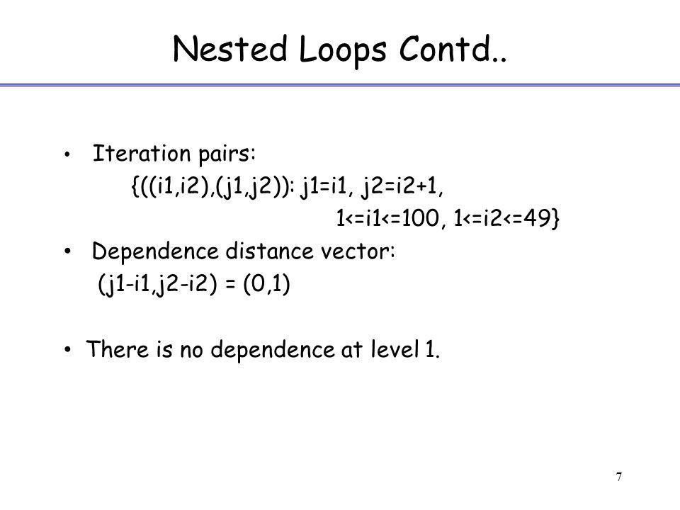 Computing Dependences - Formulation 8 Can we find iterations (i1,i2) & (j1,j2) such that i1+1=j1;i2+1=j2 and 1<=i1<=81<=j1<=8 i1-3<=i2<=i1j1-3<=j2<=j1 i1-3<=i2<=5j1-3<=j2<=5 1<=i2<=i11<=j2<=j1 1<=i2<=51<=j2<=5 and i1, i2, j1, j2 are integers.