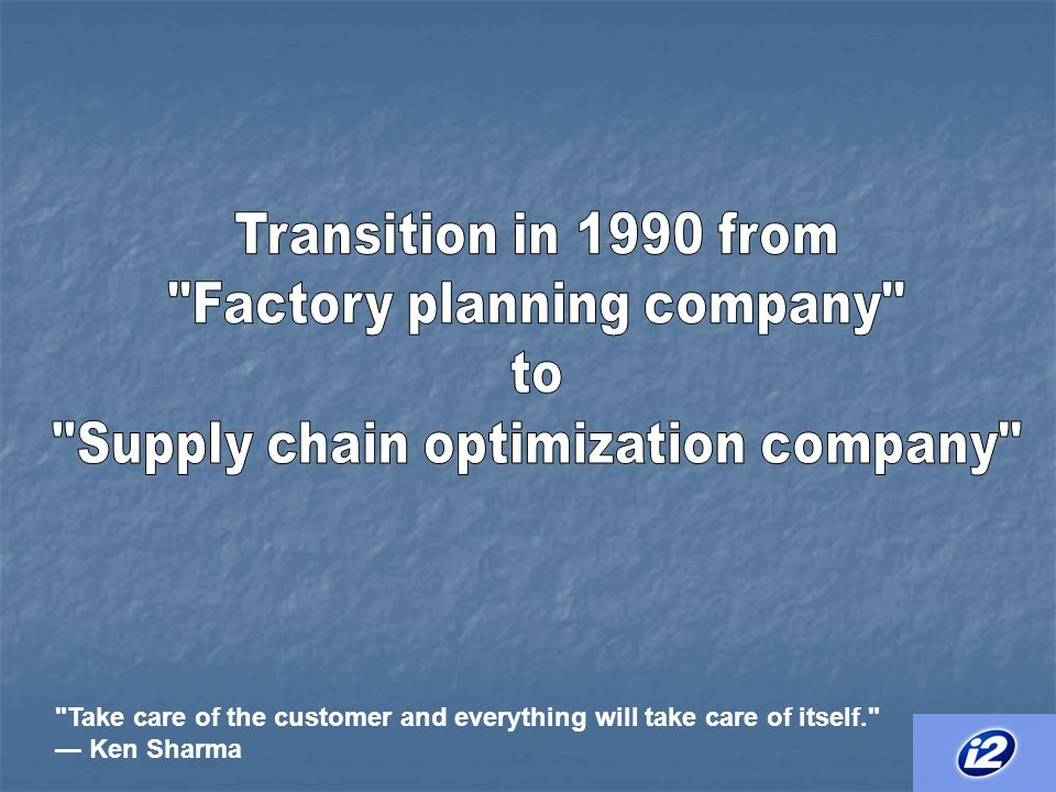 i2 product offering Focuses on supply chain planning segment Focuses on supply chain planning segment Product – RHYTHM Product – RHYTHM Two dimensions Two dimensions Type of decisions to be made (ie Buy, make, move, store, or sell) Type of decisions to be made (ie Buy, make, move, store, or sell) Planning time horizon (Time from decision to task occurrence) Planning time horizon (Time from decision to task occurrence) Products of RHYTHM include Products of RHYTHM include Demand planner, Factory planner, Supply chain planner, Distribution planner and Transportation planner Demand planner, Factory planner, Supply chain planner, Distribution planner and Transportation planner