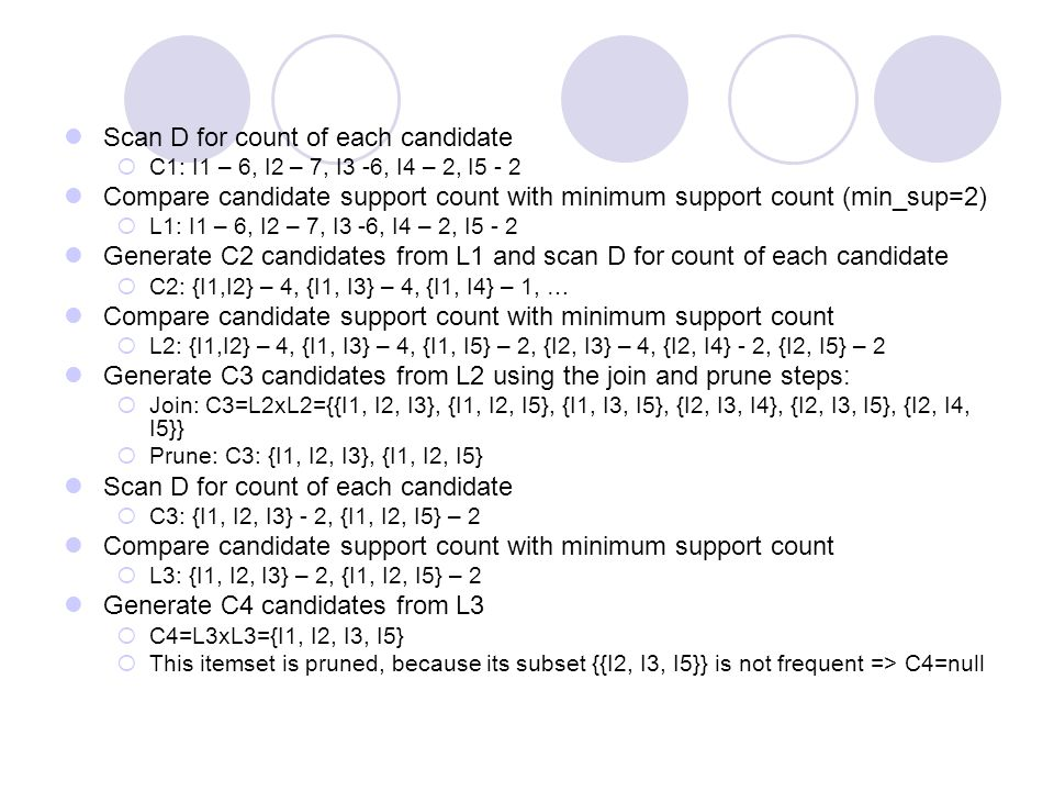Scan D for count of each candidate  C1: I1 – 6, I2 – 7, I3 -6, I4 – 2, I5 - 2 Compare candidate support count with minimum support count (min_sup=2)