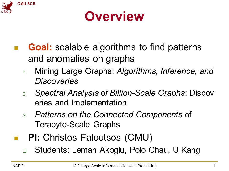 CMU SCS I2.2 Large Scale Information Network Processing INARC 1 Overview Goal: scalable algorithms to find patterns and anomalies on graphs 1.