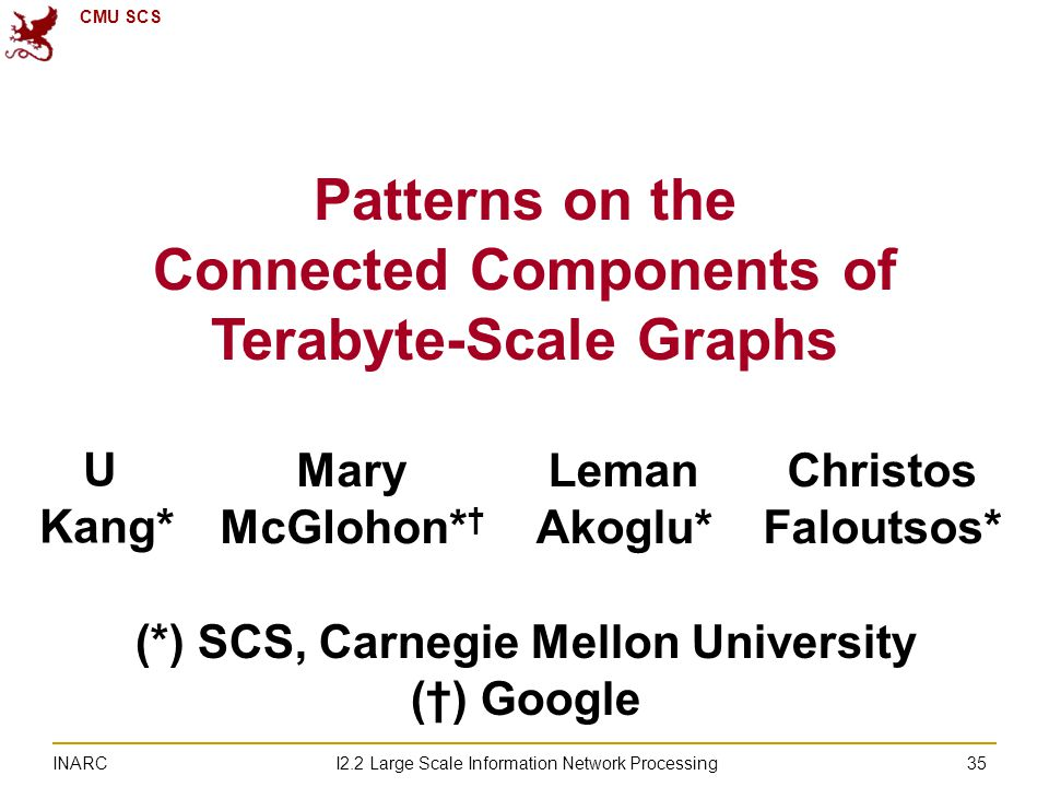 CMU SCS I2.2 Large Scale Information Network Processing INARC 35 Patterns on the Connected Components of Terabyte-Scale Graphs U Kang* Mary McGlohon* † Leman Akoglu* Christos Faloutsos* (*) SCS, Carnegie Mellon University (†) Google