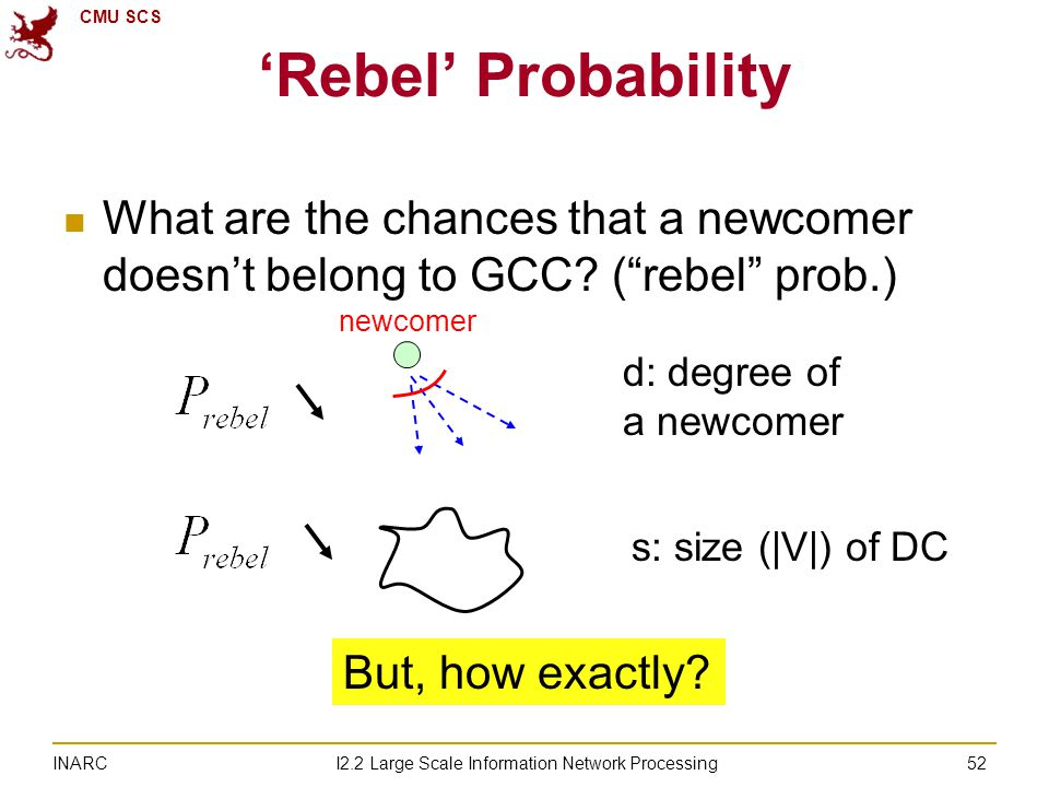 CMU SCS I2.2 Large Scale Information Network Processing INARC 'Rebel' Probability What are the chances that a newcomer doesn't belong to GCC.