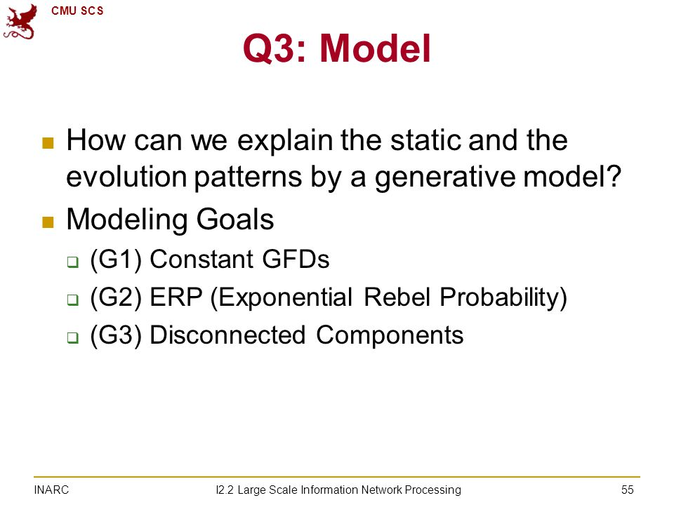 CMU SCS I2.2 Large Scale Information Network Processing INARC 55 Q3: Model How can we explain the static and the evolution patterns by a generative model.