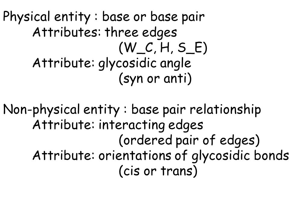 Physical entity : base or base pair Attributes: three edges (W_C, H, S_E) Attribute: glycosidic angle (syn or anti) Non-physical entity : base pair relationship Attribute: interacting edges (ordered pair of edges) Attribute: orientations of glycosidic bonds (cis or trans)