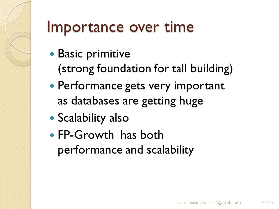 Importance over time Basic primitive (strong foundation for tall building) Performance gets very important as databases are getting huge Scalability a