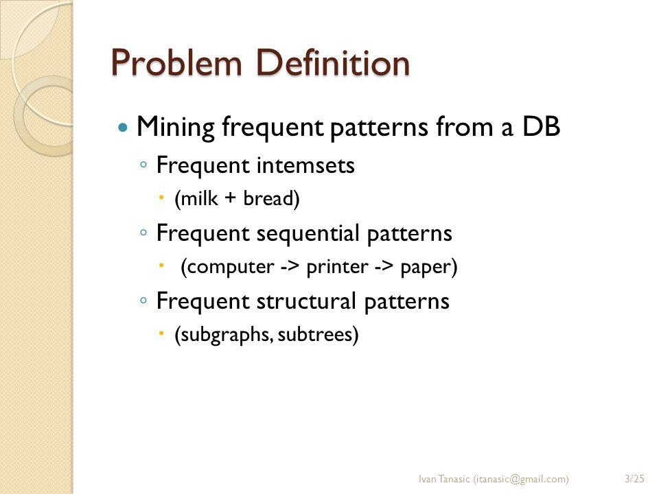 Problem Importance 1/2 Basic DM primitive Used for mining data relationships ◦ Associations ◦ Correlations Helps with basic DM tasks ◦ Classification ◦ Clustering Ivan Tanasic (itanasic@gmail.com)4/25