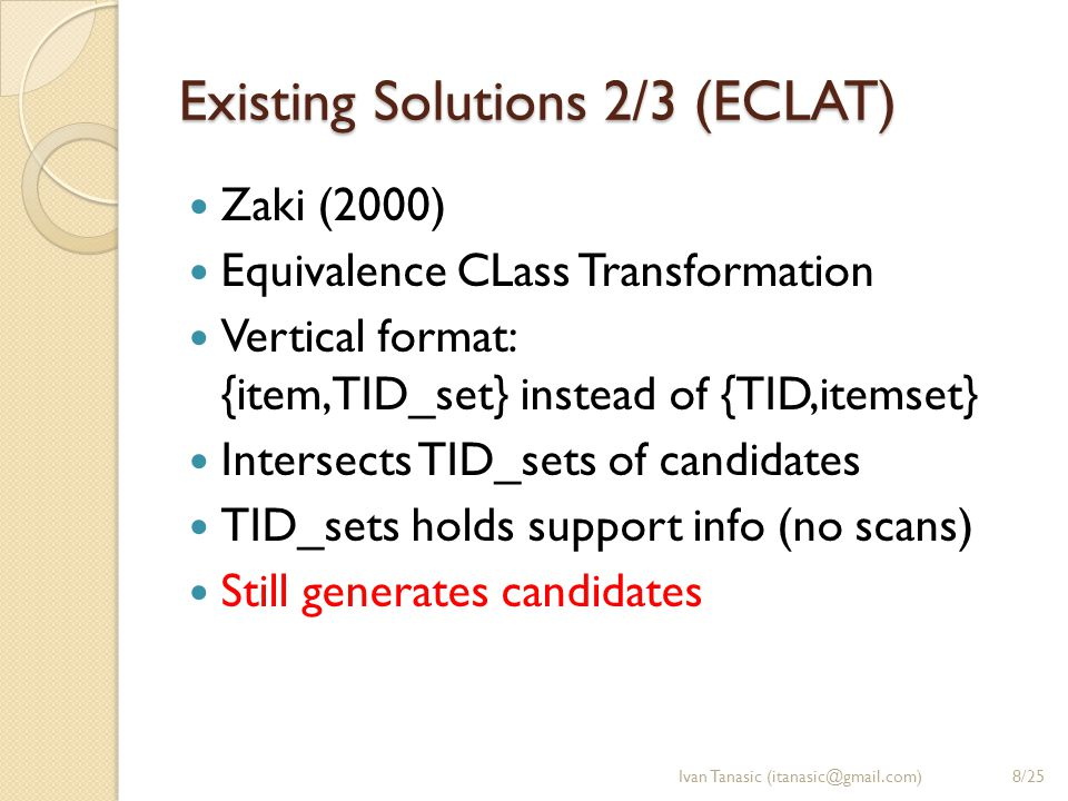 Existing Solutions 3/3 (TreeProjection) Agarwal et al.