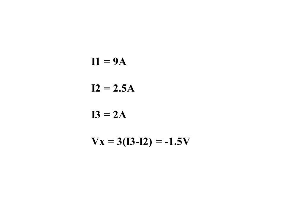 I1 = 9A I2 = 2.5A I3 = 2A Vx = 3(I3-I2) = -1.5V