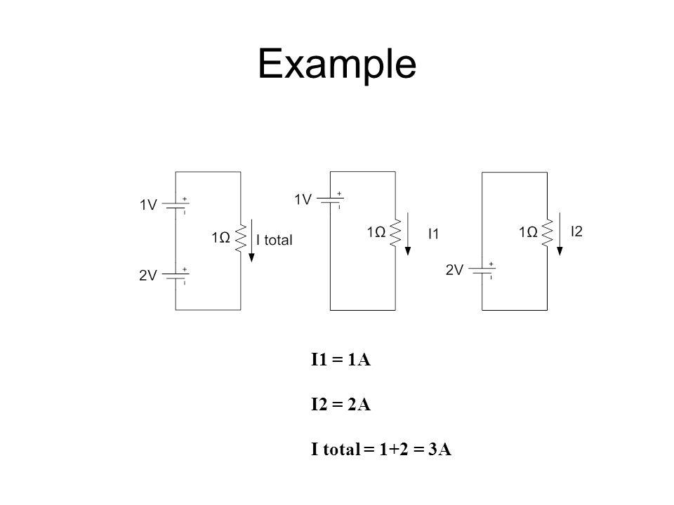 Example I1 = 1A I2 = 2A I total = 1+2 = 3A