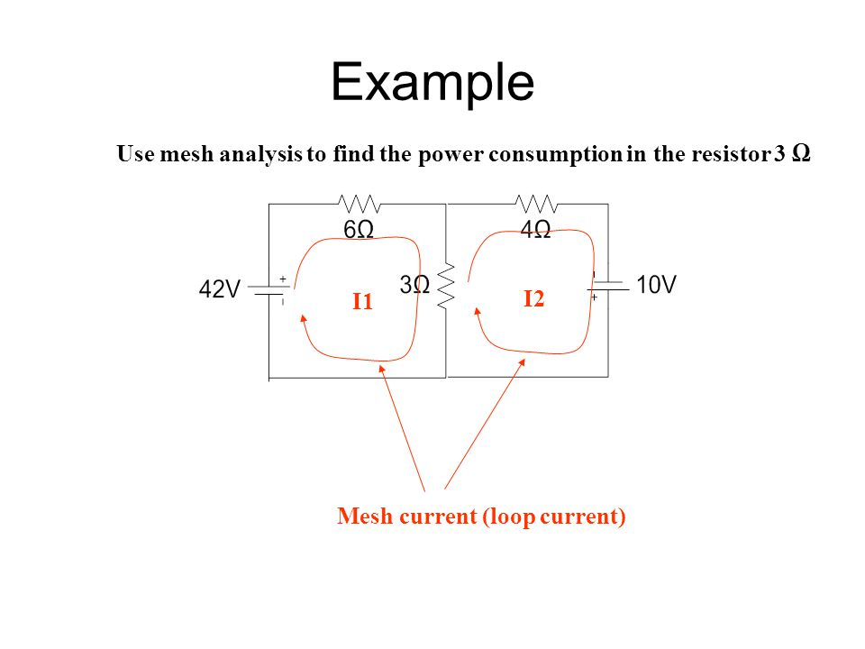 Example Use mesh analysis to find the power consumption in the resistor 3 Ω I1 I2 Mesh current (loop current)