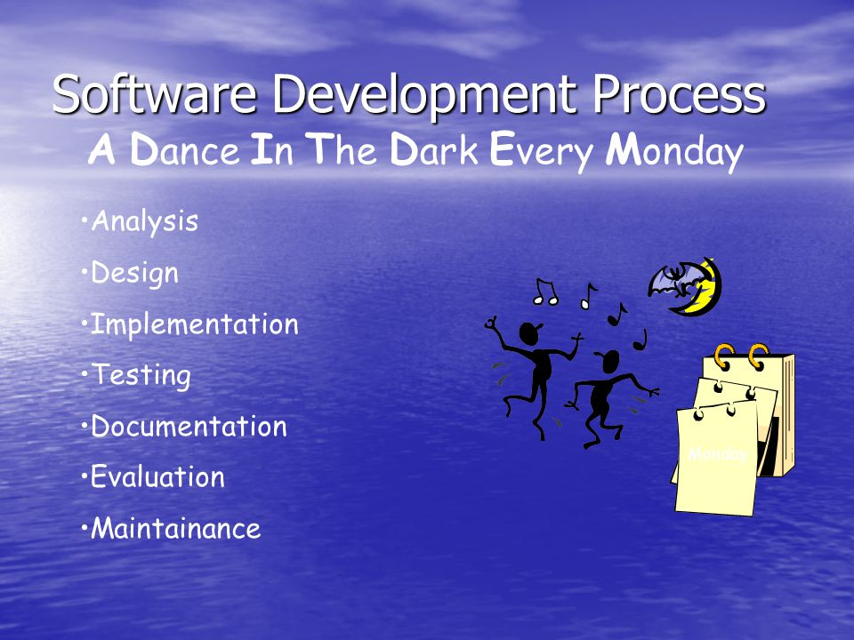 Software Development Process A D ance I n T he D ark E very M onday Analysis Design Implementation Testing Documentation Evaluation Maintainance Monday